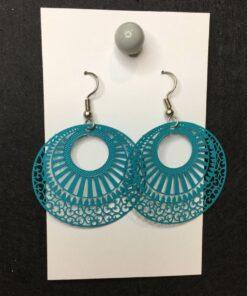 teal circle earrings