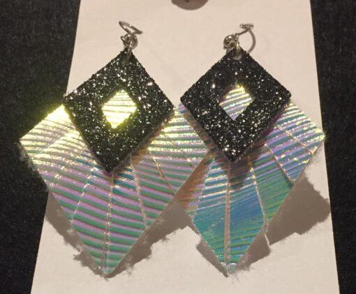 faux leather silver black earrings